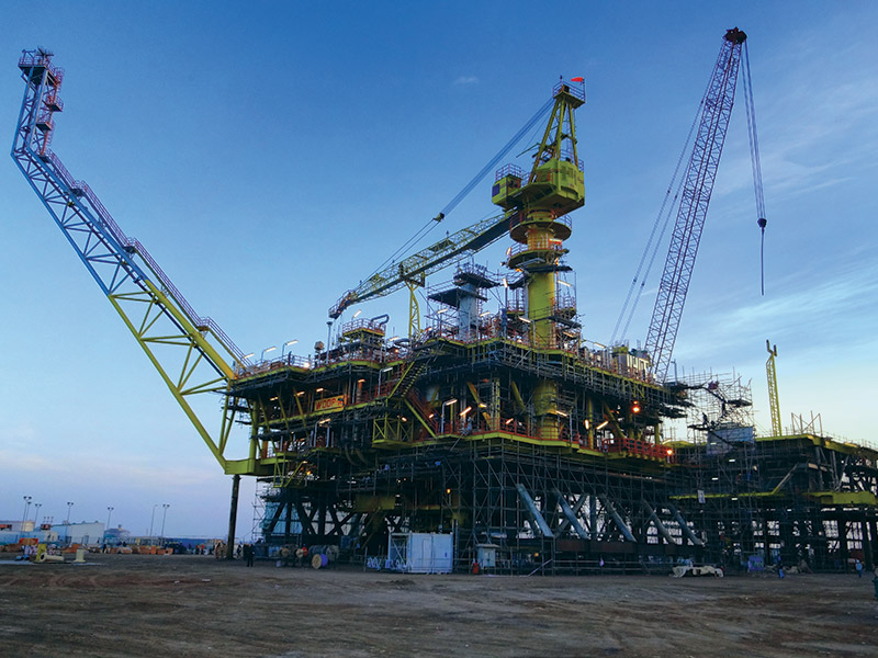Engineering, Procurement, Fabrication, Integration, Load Out and Commissioning of Drilling platform, Host tie in works in MCRA, MOPU and FSO. Water depth is 53.4 m.