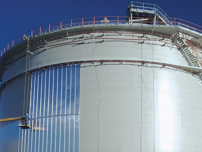 Fabrication, erection, installation, NDT and hydro test of 11 pieces fixed & floating roof tanks, painting and commissioning.