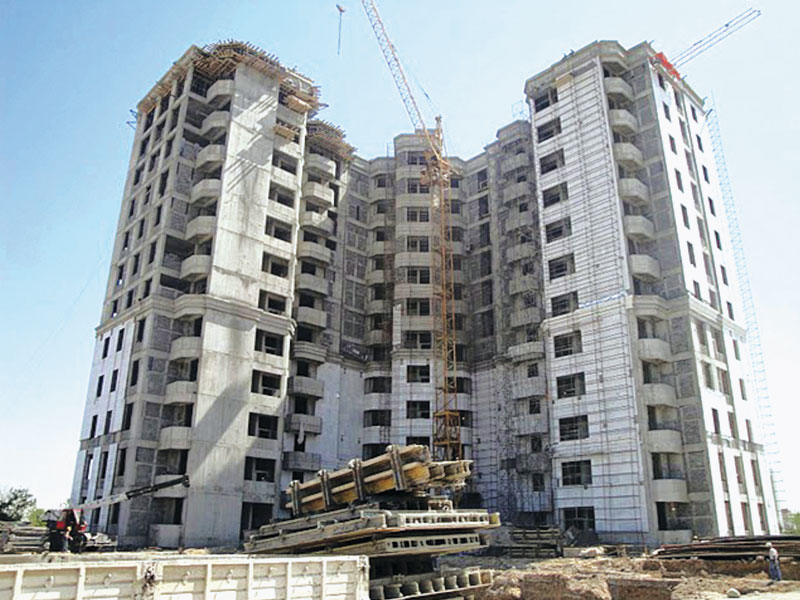 Turn-key construction of 12 floors 72 flats residential building. Earthworks, civil works, mechanical and electrical works.