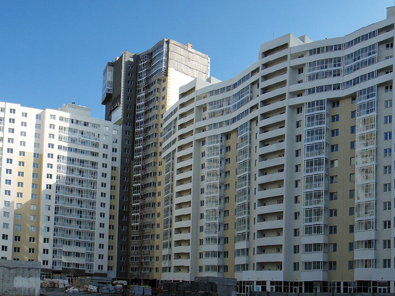 Reinforced concrete works of residential building project.