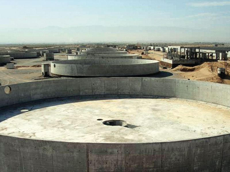 Reinforced concrete works of city water treatment facility.
