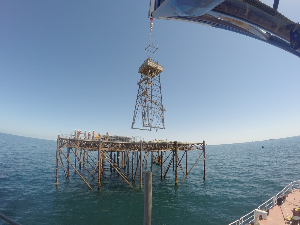 Removal of old derricks (6 nos) from non-operating offshore oil platforms