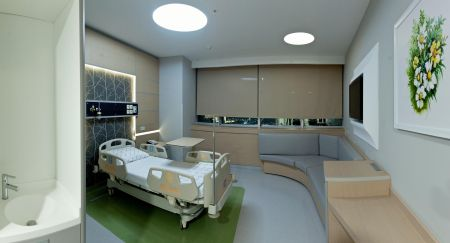 55 bed general intensive care, cardiovascular surgery intensive care, coronary intensive care units, 45-bed neonatal intensive care unit with a total of 100 bed intensive care units; was designed using the latest possibilities of technology and hospital architecture.